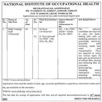 NIOH Ahmedabad MTS Recruitment | Gujarat Ahmedabad Job Vacancies