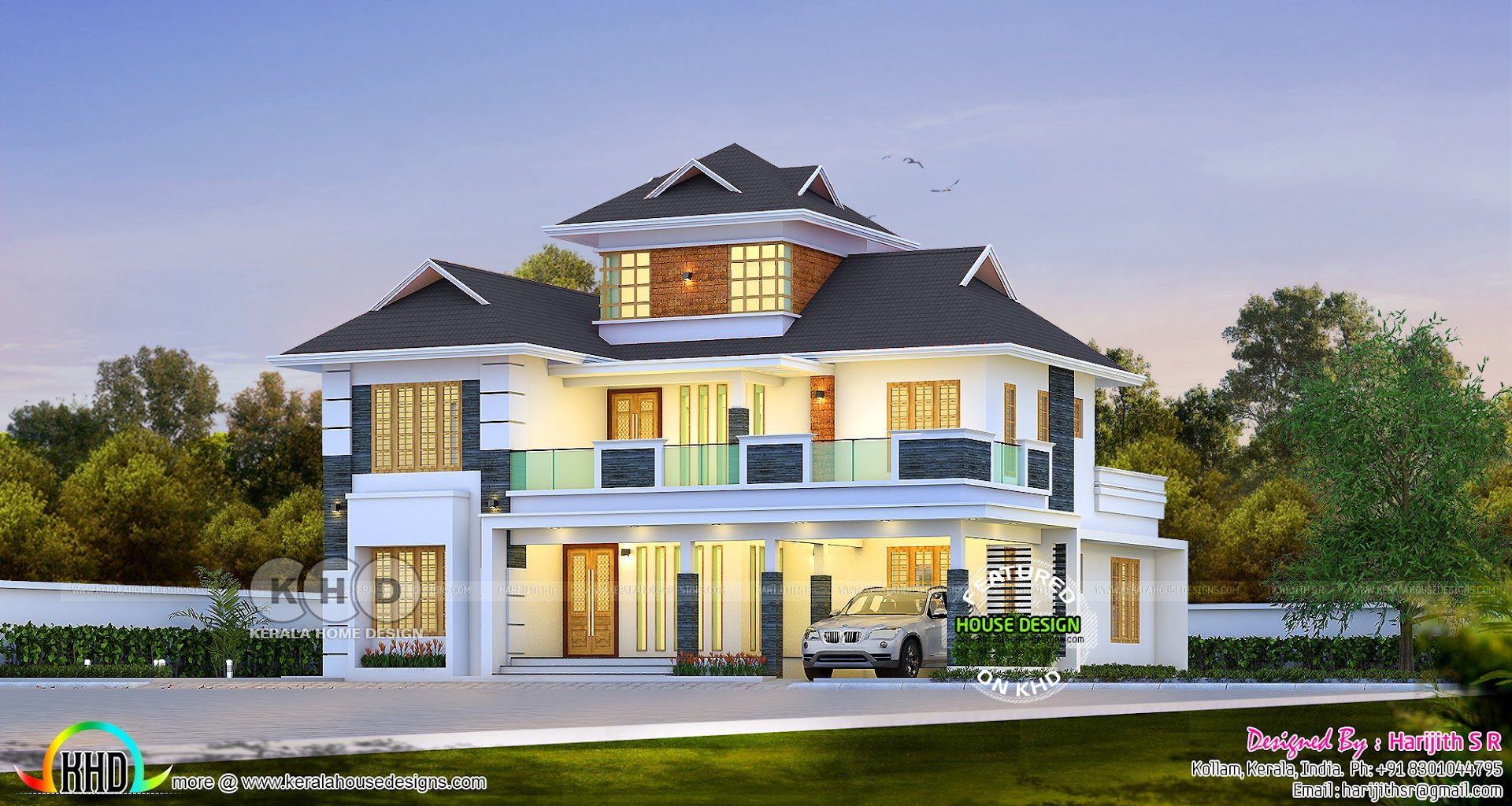 2843 Sq Ft Beautiful Sloped Roof Modern House Design
