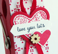 Stampin' Up! Sending Love Valentine Jumbo Clothespin Photo Holder #stampinup www.juliedavison.com 2017 Occasions Catalog