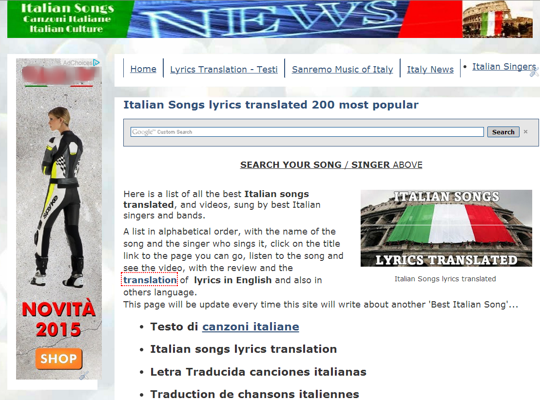 Canzoni Italiane Italian Songs, the new domain