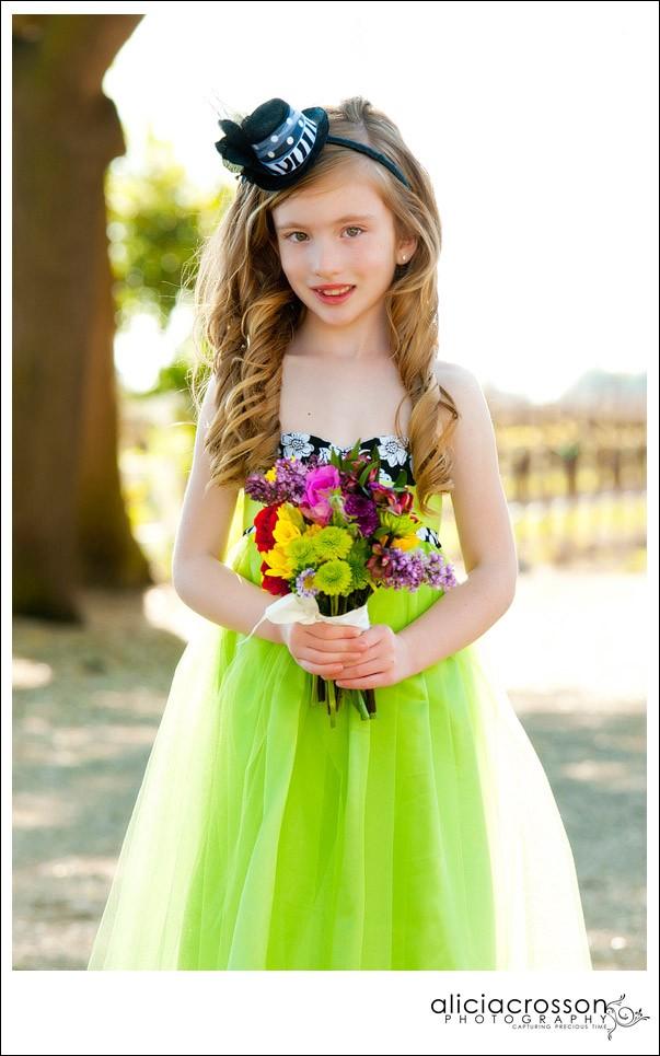 Purple Damask Flower Girl Dress