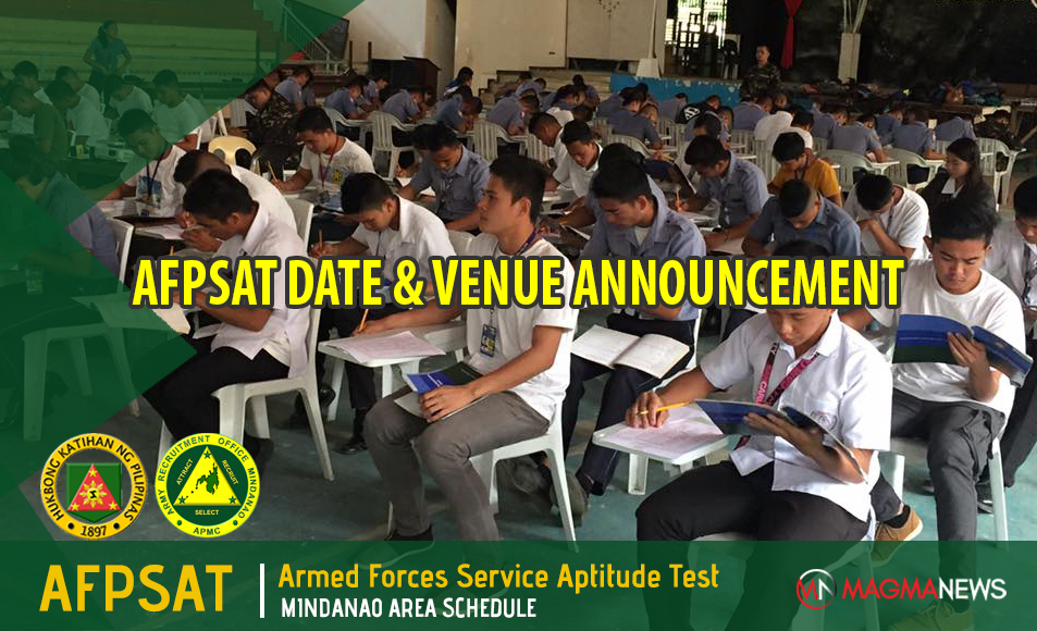 AFPSAT Schedule CY for 2019 | Mindanao Area - Exam News