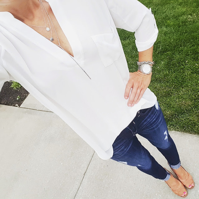 Lush Roll Sleeve Tunic - only $28 (reg $42) // Express Distresses Legging Jeans - buy 1 get 1 for $30 // Jessica Simpson Slingback Heels (similar) // ILY Couture Necklace // Michael Kors Runway Watch (similar on sale for only $17!)