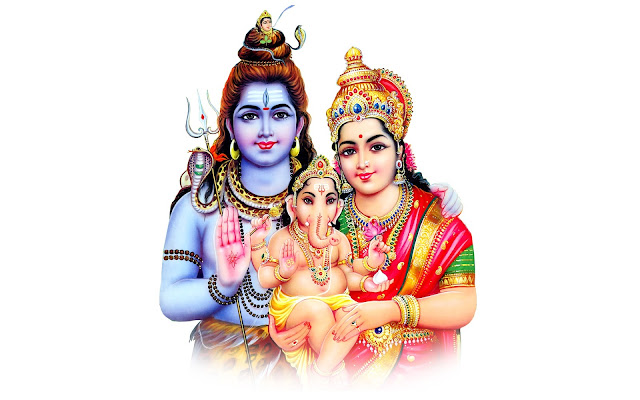 Lord Shiva & Parvathi  Wallpaper In White Background