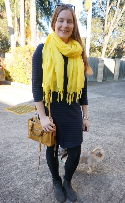 navy stripe tee dress with ankle boots and yellow accessories linen love quotes scarf | away from blue