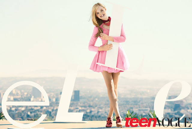 Elle Fanning poses in Miu Miu on the cover of Teen Vogue, February 2012