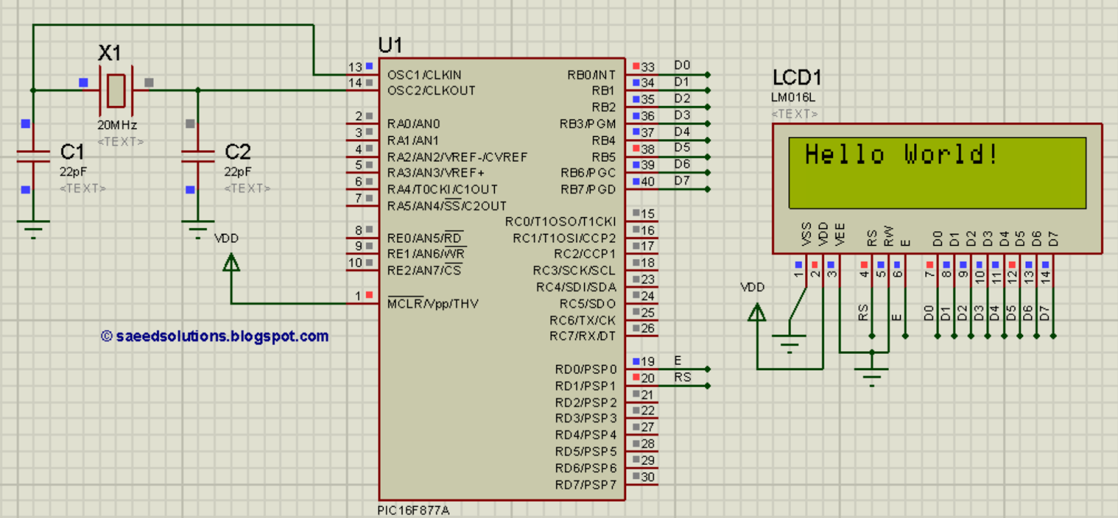 PIC16F877A LCD interfacing code (In 8bit mode) + Proteus