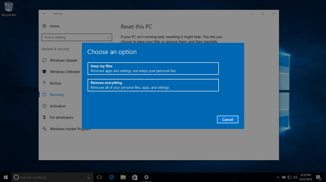 Khám phá tính năng Reset PC trên Windows 10 phiên bản 1607