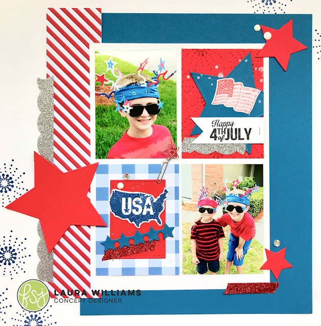 create a 12x12 patriotic scrapbook layout -  Fun Stampers Journey rubber stamps and dies are the perfect tools for create patriotic scrapbook layouts for 4th of July memory keeping. #funstampersjourney #lauralooloo #scrapbooking