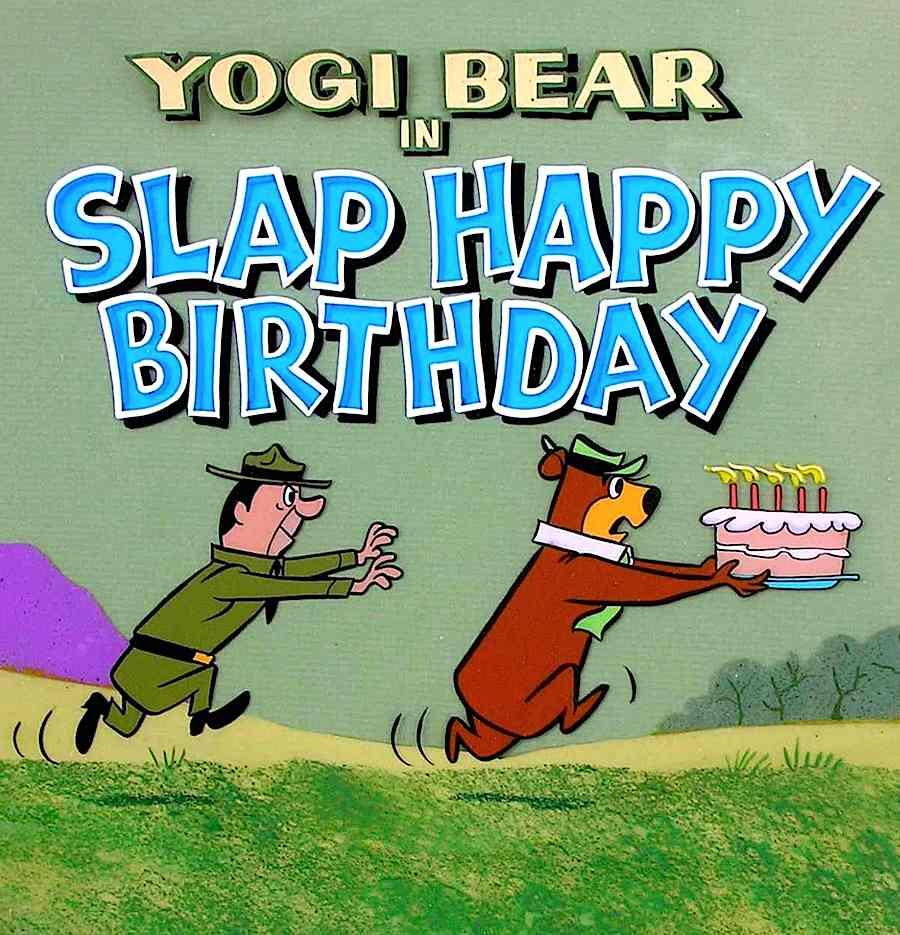 Yogi Bear and Ranger Smith in the animation title Slap Happy Birthday