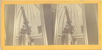 A stereoscopic photograph card that contains two side-by-side images of what appears to be the primary telescope in the Peking Observatory from 1874.