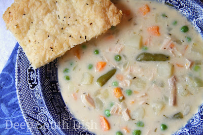 The elements and flavors from classic chicken pot pie - chopped chicken, potatoes, peas and carrots - in a creamy base - in an easy soup, with pie crust crackers for dipping.