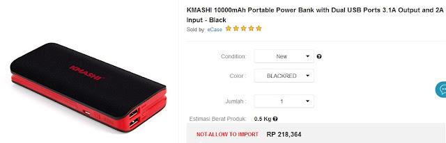 Power bank terbaik dan terkuat - Ekstrenal Battery KMASHI 10000 mAh