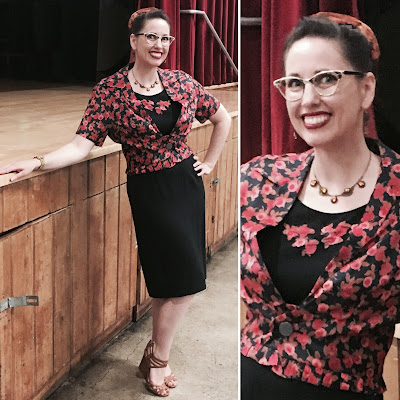 Gail Carriger Presentation Outfit ~ Why I wore Vintage 1950s Red & Black Flowered Sheath