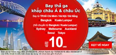 bán vé máy bay khuyến mãi Air Asia bay thả ga đi Châu Á,Châu Úc