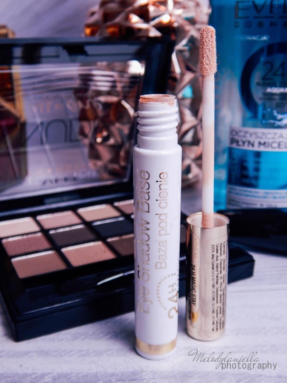 8 eveline cosmetics nude all in one eyeshadow palette melodylaniella recenzja cienie do powiek paletka cieni mascara big volume lash eye shadow base baza pod cienie oczyszczający płyn micelarny test