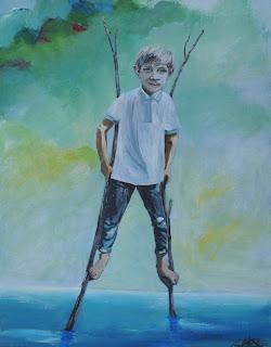 kunst, maleri, galleri, acryl på lærred, moderne, dreng, stylter, vand, vadehav, marsk, humor, glade farver, Ayoe Pløger