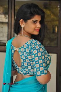 Telugu Actress Alekhya Stills in Green Saree at Swachh Hyderabad Cricket Press Meet  0016.JPG