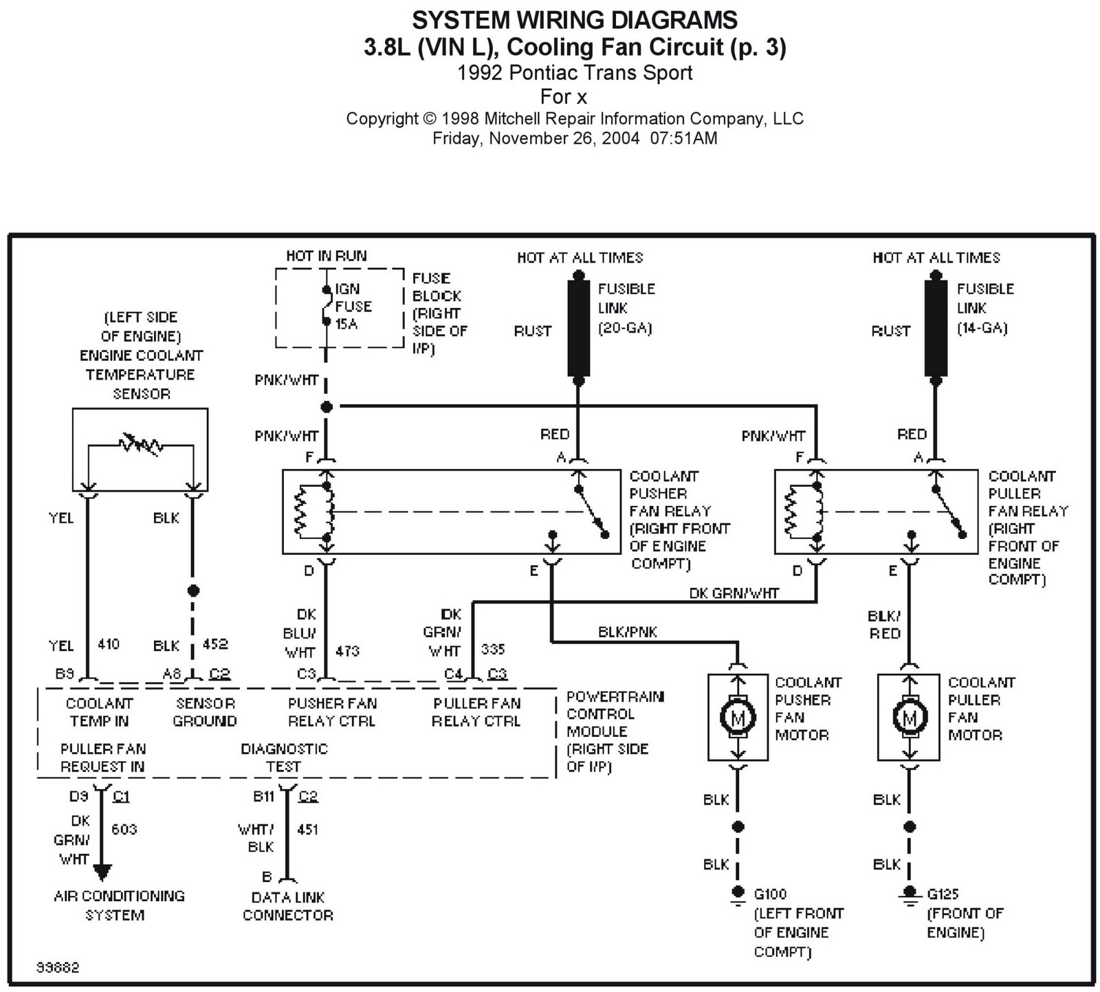 98 Pontiac Grand Am Cooling Fan Wiring Diagram Auto Electrical Trans Fuse Box 1992 Sport 3 8l Vin L Circuit