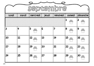 calendriers à afficher dans la classe ou à la maison