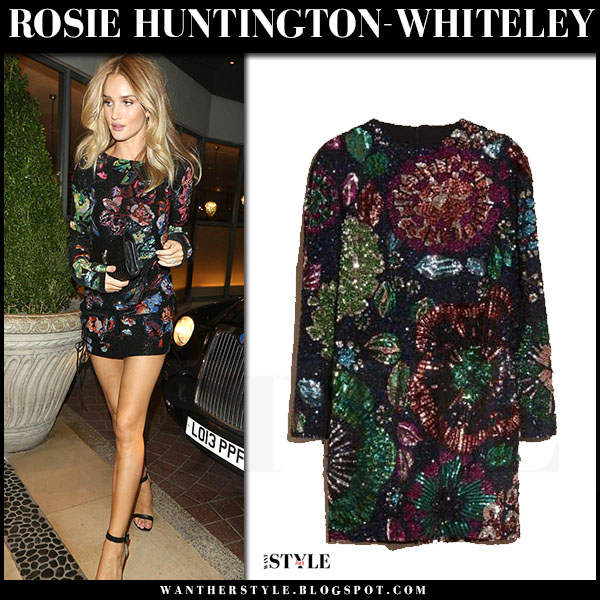 Rosie Huntington-Whiteley in embroidered sequin mini dress burberry what she wore