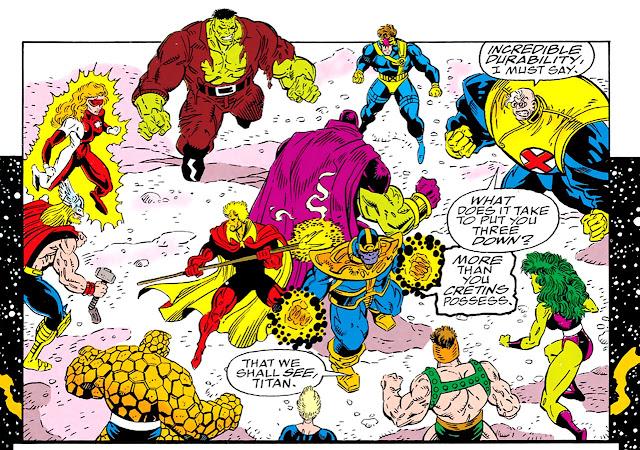 Thanos, Warlock y Drax acorralados por los héroes