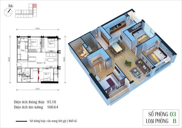 Thiết kế căn 03 toà CT4 Eco green city
