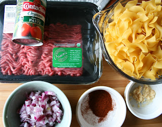 Homemade Healthy Hamburger Helper Recipe - Ingredients: tomato paste, ground beef, red onion, spices, garlic, egg noodles