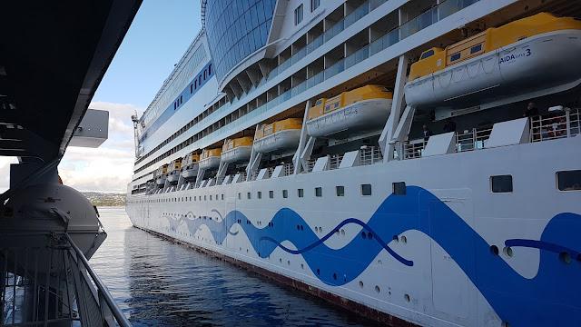 Cruise ship AIDAluna alongside in Bergen, Norway