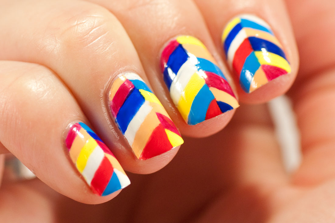 Bright Abstract Color Block Pattern Nail Art