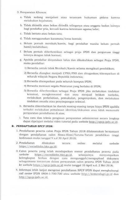 persyaratan ipdn 2018