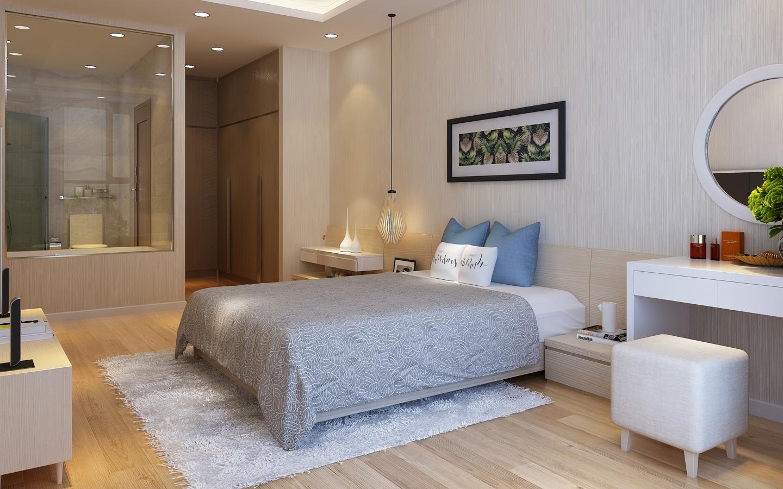 Không gian phòng ngủ căn hộ tại Mỹ Đình Pearl