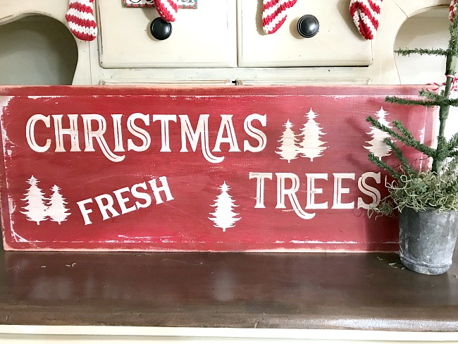 Red Christmas Fresh Trees sign for the holidays
