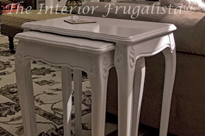 Nesting tables spray painted in high close pure white.
