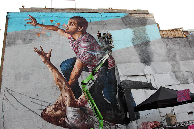 "Fintan Magee's ""Survival Of The Fittest"" Street Art Mural In East London, UK. - progress cherry picker"