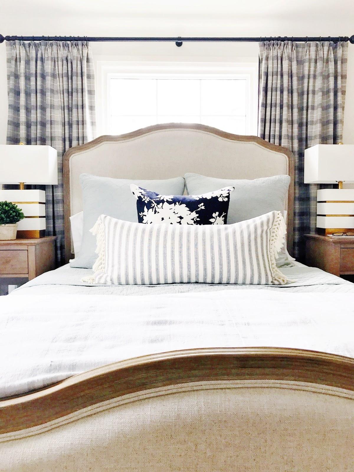 calm neutral master bedroom, Rambling Renovators, plaid curtains, tall headboard, traditional bedroom