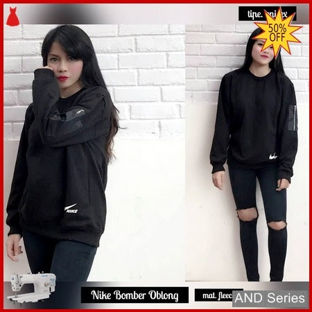 AND385 Sweater Wanita Nike Bomber Oblong Hitam BMGShop
