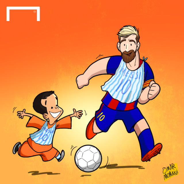 Messi and Murtaza Ahmadi cartoon