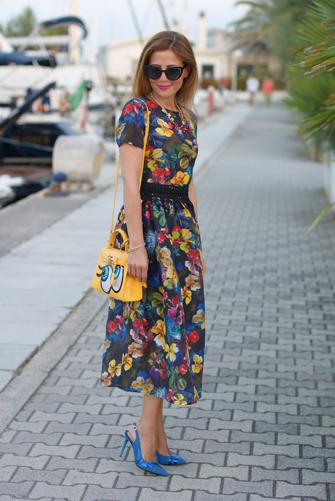 Dezzal review, floral cocktail midi dress on Fashion and Cookies fashion blog, fashion blogger style