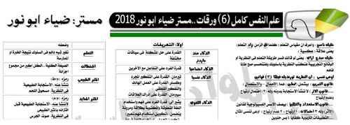 مراجعة علم النفس في 6 ورقات فقط للثانوية العامة 2018 مستر ضياء أبو نور – لا يخرج عنها الامتحان