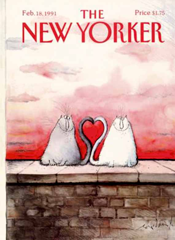 valentine's day, magazine covers, the new yorker, ronald searle illustration