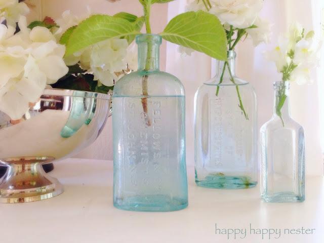 Pottery Barn style, open concept home tour, beautiful vignette, blue bottles