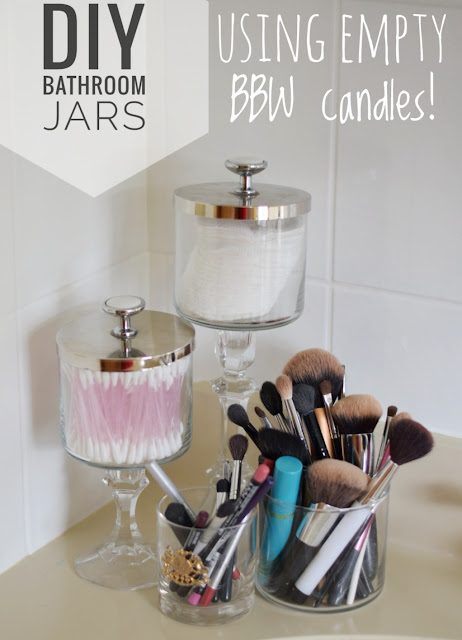 Reuse BBW candle for Easy DIY Bathroom container