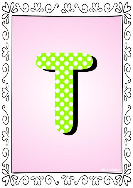 Alfabeto Poá Colorido com Borda Letra T