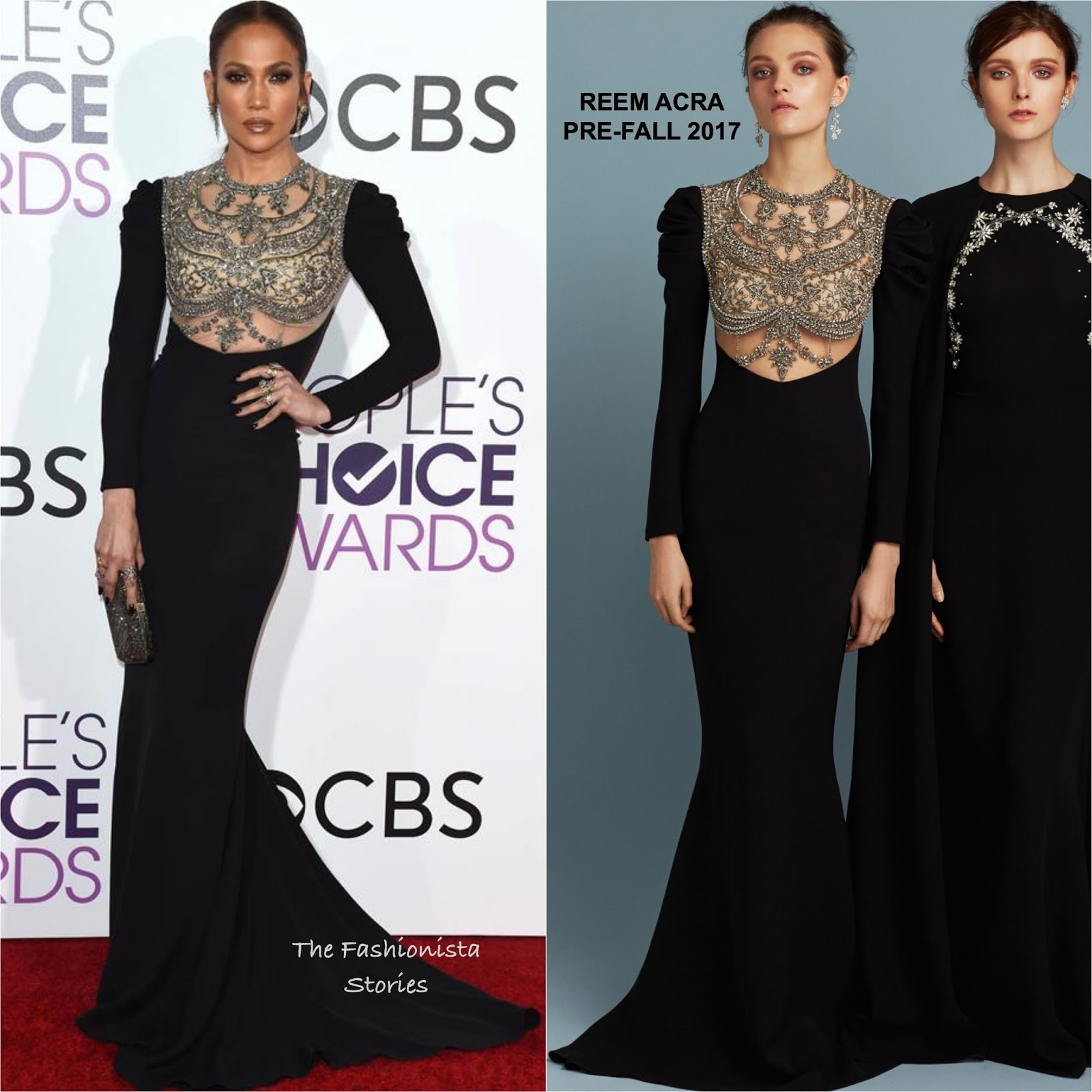 Jennifer Lopez in Reem Acra at the 43rd People\'s Choice Awards