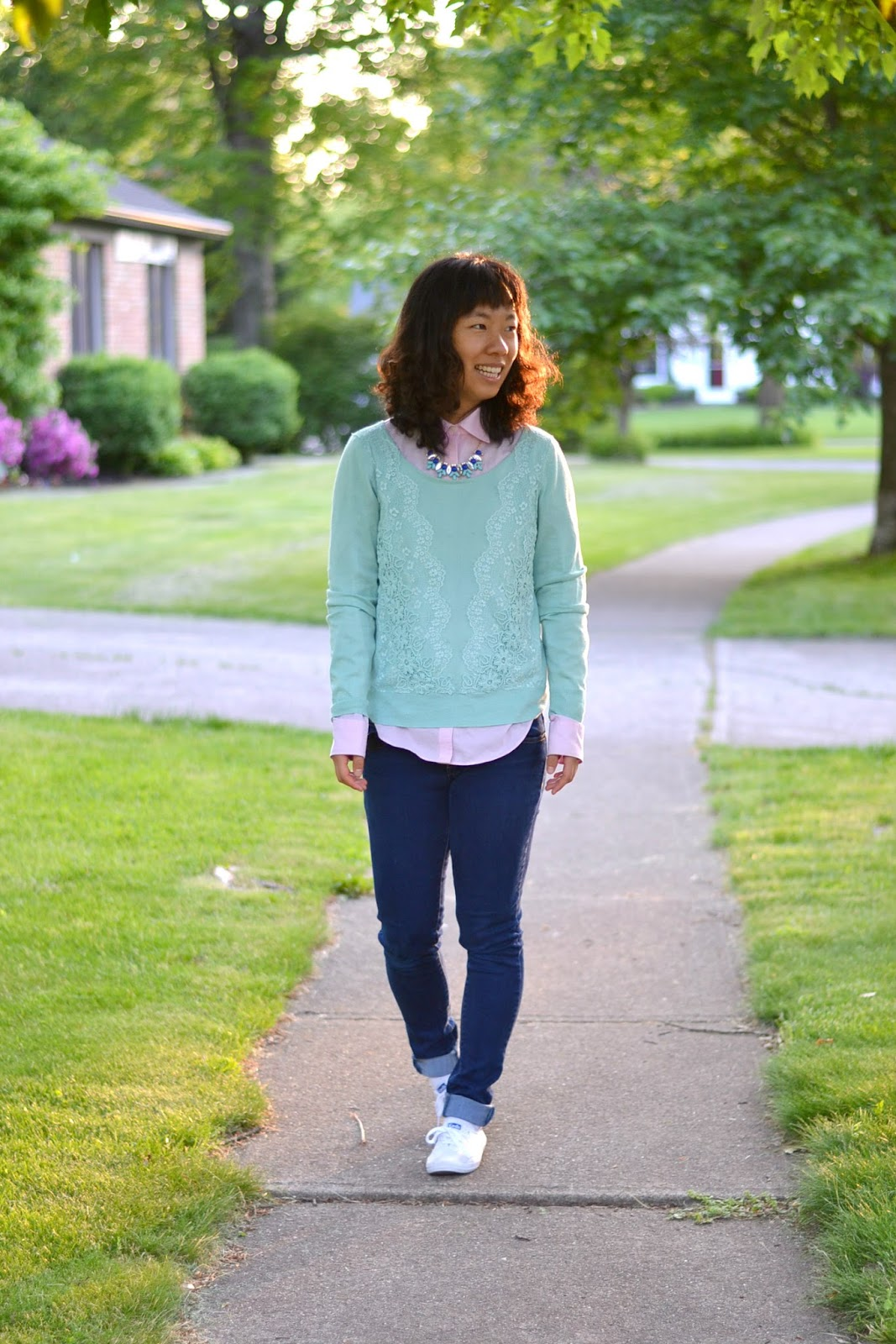 college student outfit, mint and pink
