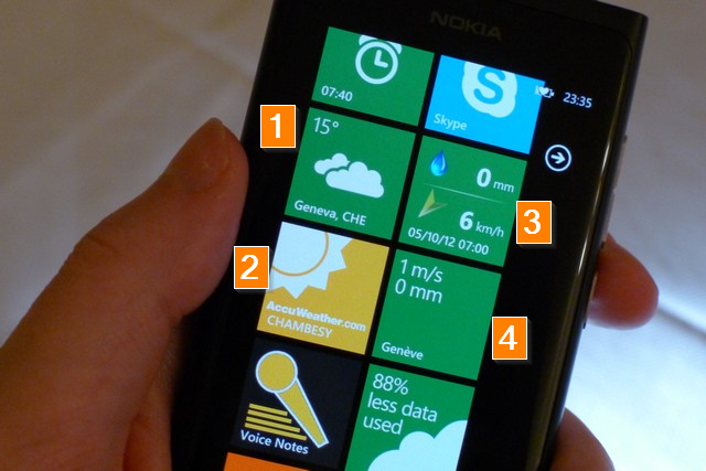 Windows Phone with four weather apps