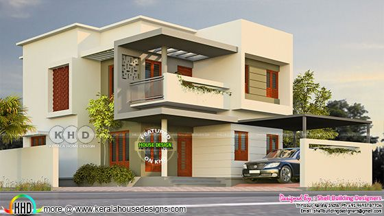 Corner plot house design rendering