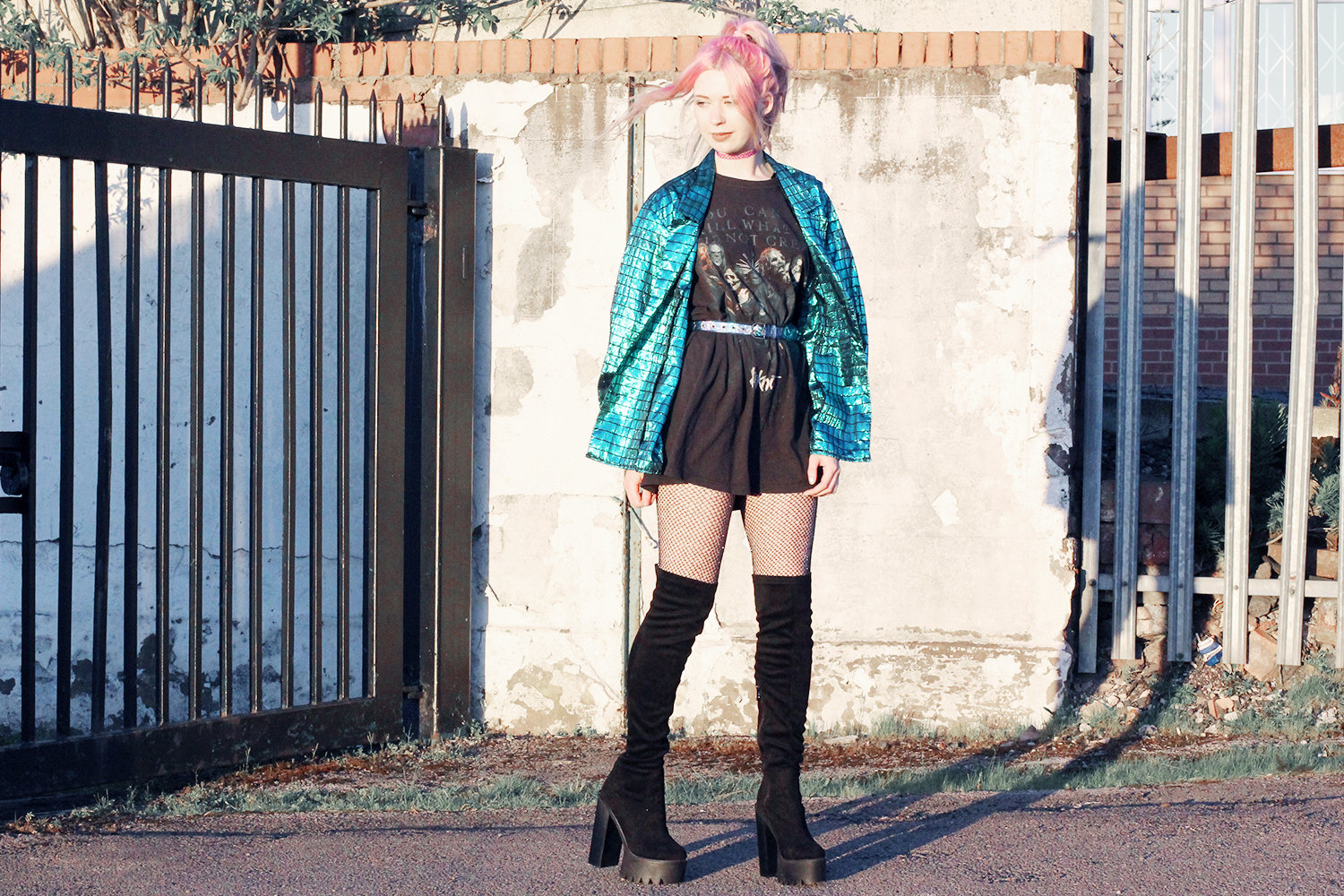 slipknot, thigh high boots, vintage jacket