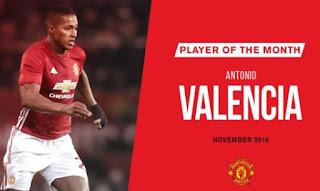 Antonio Valencia Pemain Terbaik Manchester United November 2016